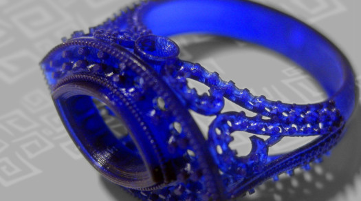 SLA stereolitografia anello resina blu